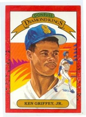 Ken Griffey Jr baseball card (Seattle Mariners Hall of Famer) 1990 Donruss #4 Diamond - 1990 Diamond Donruss