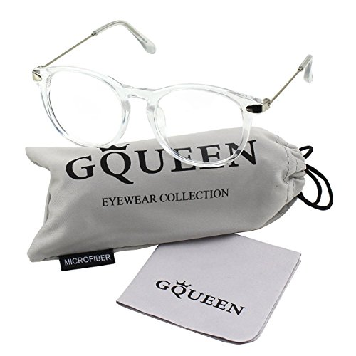 Glasses Queen 201588 Fashion Oval Horn Rimmed Keyhole Metal Temple Clear Lens Glasses,Transparent