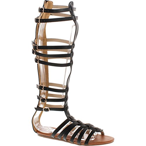 (StyleUpGirl Marcelino Black Brown Knee High Buckle Gladiator Sandals Leather -)