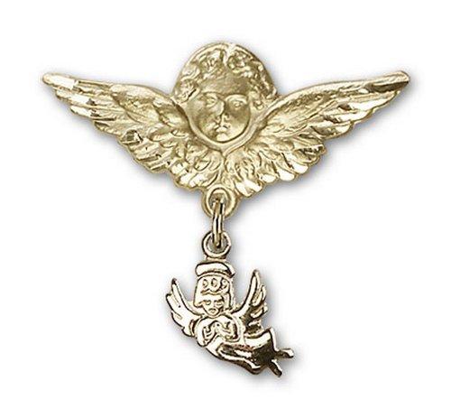 Icecarats Or Bijoux De Créateurs Rempli Ange Gardien Ange Charme Broche De Badge 1 X 1 1/8