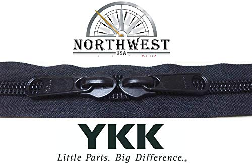 YKK #8 Zipper Coil Chain with 2 Sliders per Yard. Sold in 10-Yard Lots. Please See Our Other Listing for Size 10 & Size 5. (10 Yards & 20 Black - Coil 10 Yard