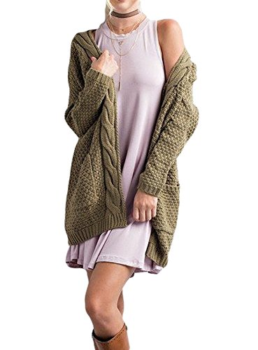 - Imily Bela Women's Boho Long Sleeve Open Front Chunky Warm Cardigans Pointelle Pullover Sweater Blouses Army Green