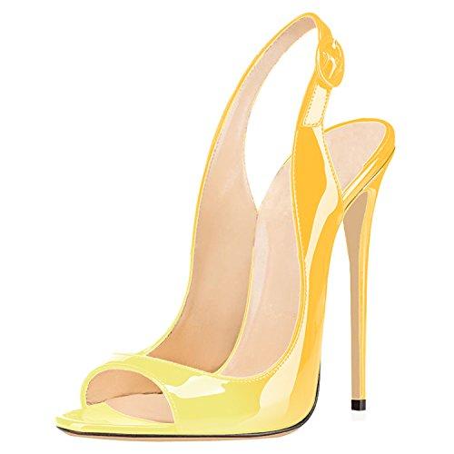 Toe Sandali Sandali Scarpe Col Giallo da Donna uBeauty Scarpe Peep Classiche Tacco Tacco multicolore Classici Col Sandali Scarpe 120MM OxZFdqn