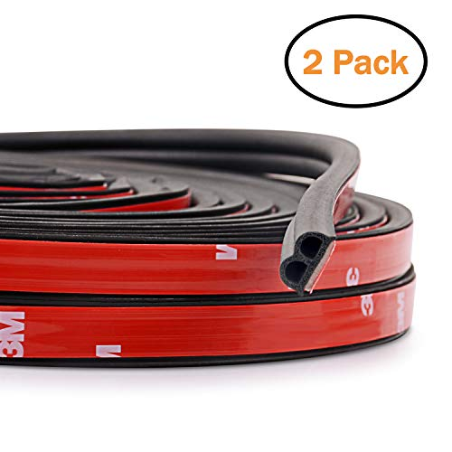 2-Pack Total 32.8 Ft Automotive Seal Strip Rubber Edge Weatherstrip for Car Window Door Protector Soundproofing Engine Cover Trim B Shape ()