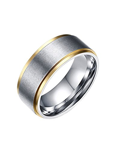 FANSING Costume Jewelry Valentine's Day Gift 8mm Stainless Steel Rings Gold Silver Two Tone Wedding Bands for Womens Mens Size 10