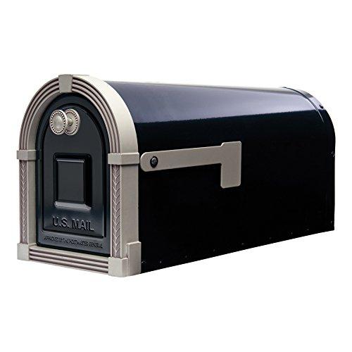 Brunswick 8.9-in W x 10.8-in H Metal Black/Brushed Nickel Post Mount Mailbox (Nickel Post)