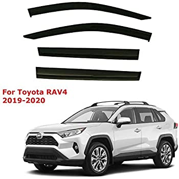 Chrome Trim Side Logo Window Visors Guard Vent Deflectors For Toyota Rav4 2019