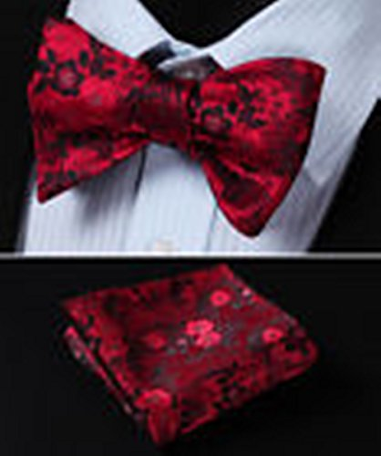 [Mondaily DL3001R Red Floral Men Woven Silk Self Bow Tie Pocket Square Set #PPTE4461] (Cats Musical Halloween Costumes)
