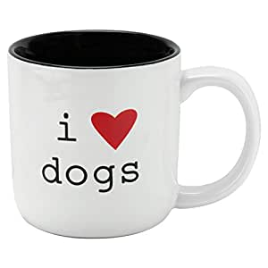10 Strawberry Street MMUG-LOVEDOGS Expressions I love Dogs Mugs, Medium, White/Black by 10 Strawberry Street