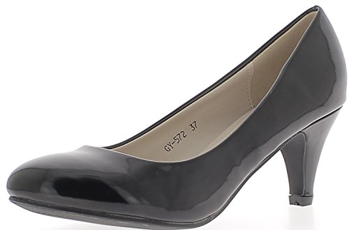 ChaussMoi Varnished Black Classic Pumps with Small Heels 6.5 cm Iz6UkoyBH8