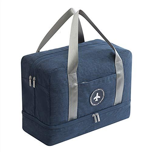 Men Women Waterproof Gym Bag - Sport Duffle Holdall Bag Training Handbag Yoga Bag Weekend Travel Dry Wet Separation Shoes Isolation Swim Bag(Navy Blue)