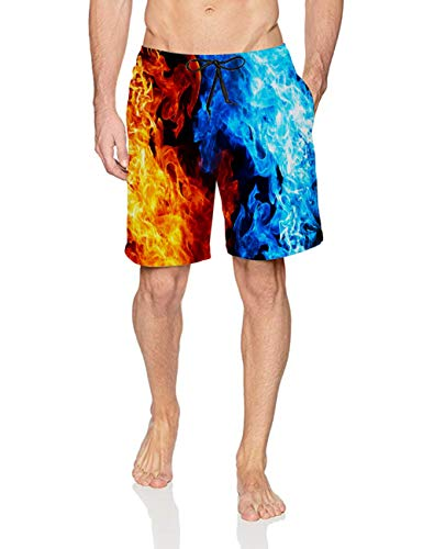 Swimming Trunks for Men Beach Vacation 3D Digital Printed Tie-Dye Fire Red Blue Spandex Compression Board Shorts Quick Dry Sweat Strentch Spandex Compression Shorts for 80's 90's Male Boy Friend