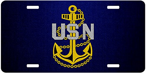 ExpressItBest Premium Aluminum License Plate - U.S. Navy Chief Petty Officer, Rank Insignia (Collar Device) ()
