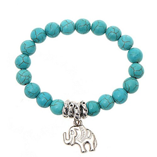OVERMAL Elephant Turquoise Beads Bracelet Handmade Accessories Fashion Jewelry