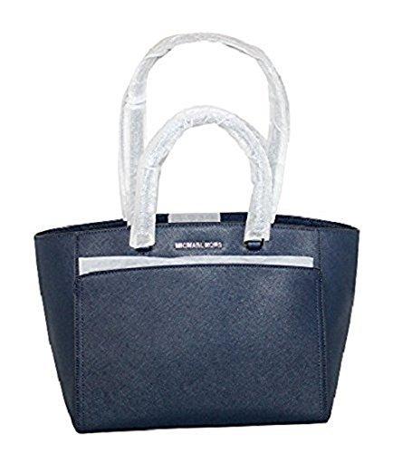 MICHAEL Michael Kors Women's EMMY Large DOUBLE HANDLE TOTE Leather Handbag (Navy) (Double Handle Handbags)