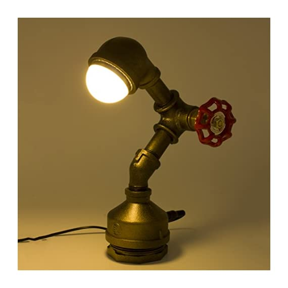 """Industrial Steampunk LED Desk Lamp, Iron Piping Loft Style Vintage Antique Light, Retro Desk Lamp, Y-Nut""""Alfred"""" Night Light LL-007-WW - 9.5'' height, 2 lb weight, 3W LED light (integrated LED light) Genuine malleable iron pipe and valve from Bundor Valve Factory Dedicatedly designed and handcrafted iron piping loft style vintage lamp - lamps, bedroom-decor, bedroom - 41vh5p8wFbL. SS570  -"""