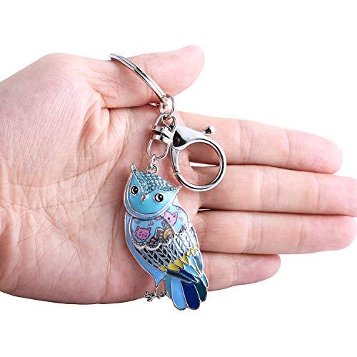 Luckeyui Unique Owl Gift Keychains for Women Blue Enamel Cute Animal Keyring by Luckeyui (Image #3)