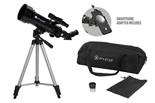 Zhumell Z70 Portable Refractor w Tripod, Phone Adapter & Car