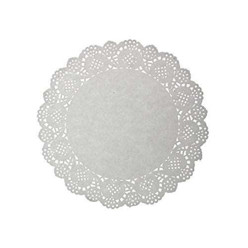 LJY 120 Pieces White Lace Round Paper Doilies Cake Packaging Pads Wedding Tableware Decoration (8.5 Inch) ()