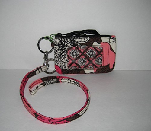Vera Bradley Zip ID Case and Lanyard in Mocha Rouge