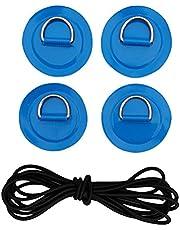 MagiDeal 4 st rostfritt stål D ringdyna PVC lapp båt däck svart elastisk bungee rep kit för stående paddelbräda