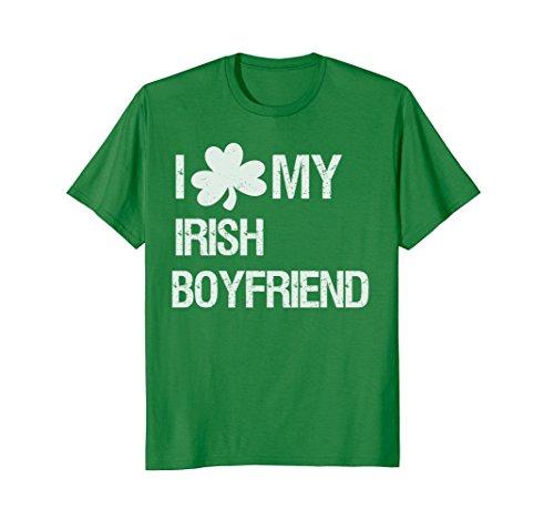 Mens I Love My Irish Boyfriend with Shamrock T-Shirt Large Kelly Green (Green Love Irish Boys)