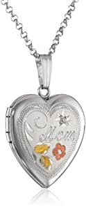 Sterling Silver Diamond-Accent Heart Locket Pendant Necklace with Engraved Mom, 18""
