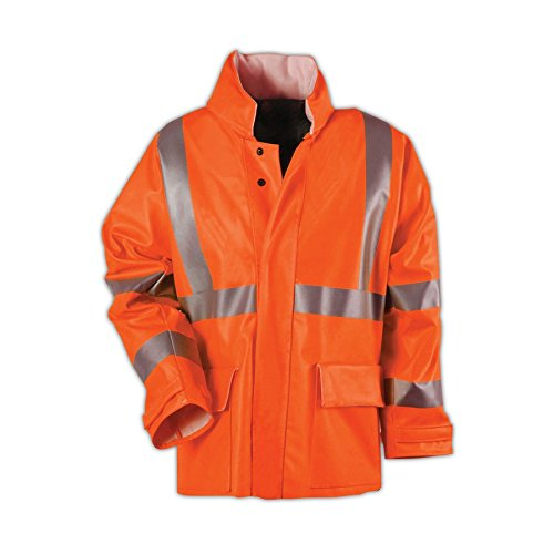 National Safety Apparel R30RQ06XL Arc H20 Rain Jacket, FR Polyurethane Coated FR cotton, X-Large, Orange