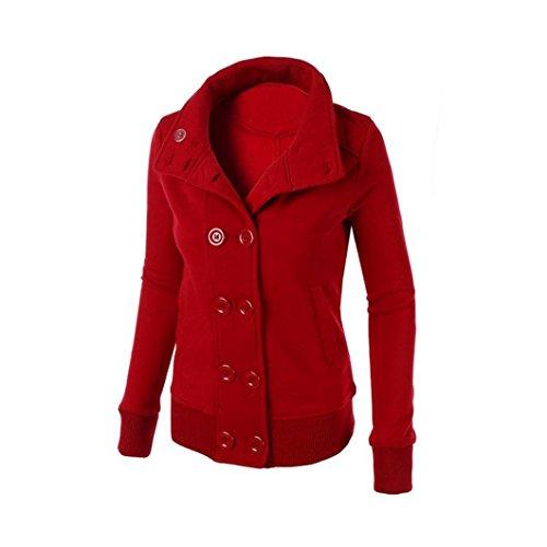 Rojo Cálido Con Mujer Cruzado Invierno Delgado Larga KaloryWee Chaqueta Mujer Chaqueta Capucha para C7aRqqp
