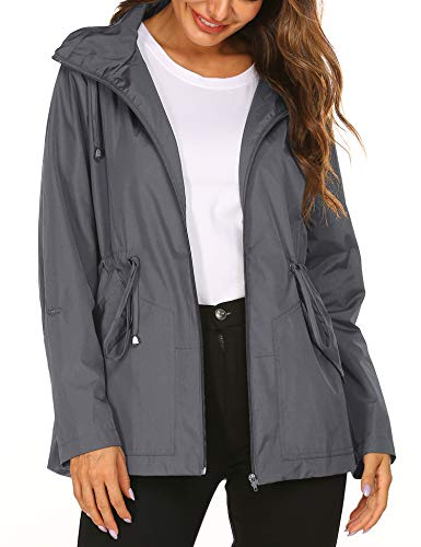 Doreyi Waterproof Rain Jacket Raincoats Women Waterproof with Hood Lightweight Raincoat Outdoor Windbreaker Grey (Best Rain Poncho 2019)