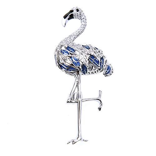 (Monrocco Elegant Rhinestone Crystal Flamingo Brooch Pins for Women, Silver Tone)