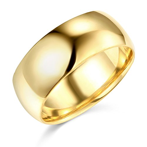 Wellingsale Mens 14k Yellow Gold Solid 8mm CLASSIC FIT Traditional Wedding Band Ring - Size 10 (Wedding Band Ring Traditional)