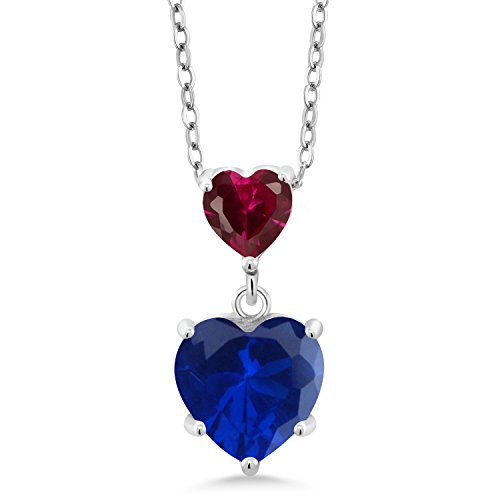 Gem Stone King 1.60 Ct Blue Simulated Sapphire Red Created Ruby 925 Sterling Silver Double Heart Shaped Pendant