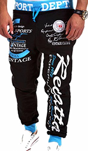 amp;blue Hombres Baggy Black S376 Sport Jeansian Men Largos Jogger Deporte Pantalones Holgados Pants Long Jogger qpn86wd