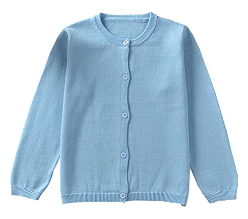 GSVIBK Girls Cardigan Long Sleeve Crewneck Cardigans Solid Knit Button Sweater Cardigan Baby Girl 4-5Y Blue 6112