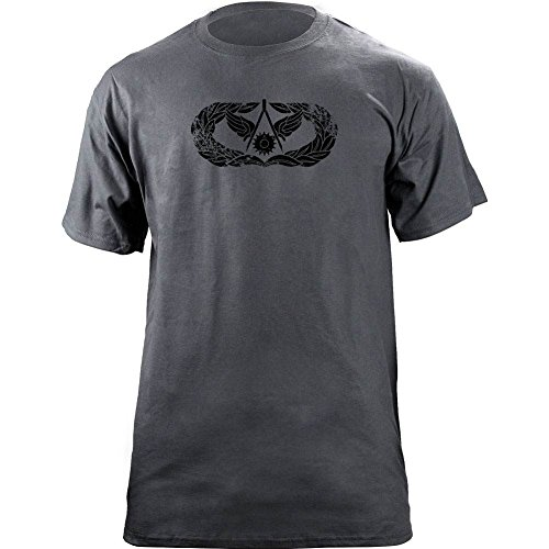 Vintage Air Force Civil Engineer Badge Subdued Veteran T-Shirt (L, ()