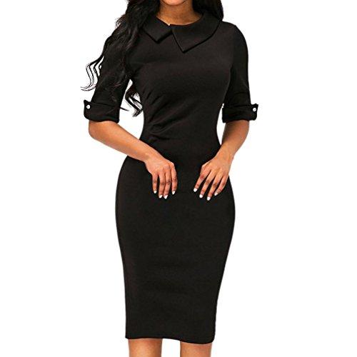 , ღ Hot Sale ღ ! Retro Bodycon Below Knee Formal Office Dress Pencil Dress With Back Zipper Blouse Tops (S, Black) ()