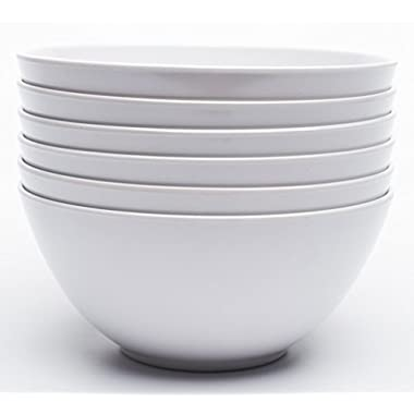 Yinshine Melamine 6 Inch Dinnerware Soup Bowls, Set of 6, White