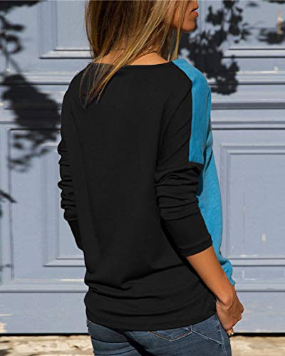 Shirts Camicetta Bluse Donne Minetom Autunno Colore Casuale Maglietta shirt Nero Manica Lunga Sciolto T Camicia Blocco Tops Di Elegante Blusa tx7wq4x