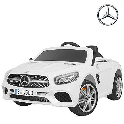 Uenjoy 12V Kids Ride On Car Mercedes-Benz SL500 Electric Cars Motorized Vehicles, Remote Control RC, Bluetooth, LED Lights, Music, Horn, Spring Suspension, White (Best Remote Control Vehicle For 5 Year Old)