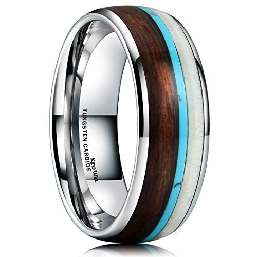 Inlay Dome Band - King Will Nature Wood Calaite Inlay Dome Tungsten Carbide Wedding Ring Band Unisex Comfort Fit(10)