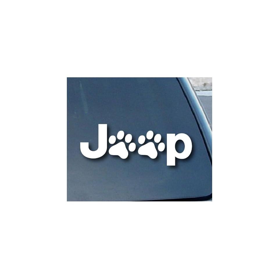 Jeep Wrangler Cat Dog Paw Print Car Window Vinyl Decal Sticker 5 Wide (Color White)