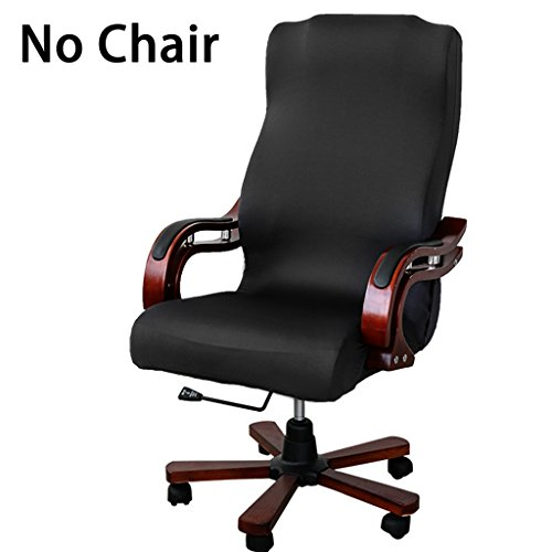 BTSKY Back Office Chair Covers Stretchy for Computer Chair/Desk Chair/Boss Chair/Rotating Chair/Executive Chair Cover, Large Size, Black(No Chair)