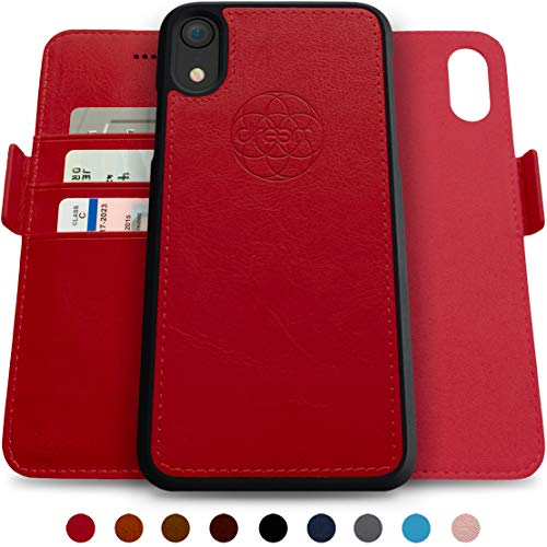 Dreem Fibonacci 2-in-1 Wallet-Case for iPhone XR, Magnetic Detachable Shock-Proof TPU Slim-Case, Wireless Charging OK, RFID Protection, 2-Way Stand, Luxury Vegan Leather, Gift-Box - Red