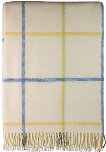 iLuv Large Soft Luxury Lambswool Merino Tattersall Throw - Pastel