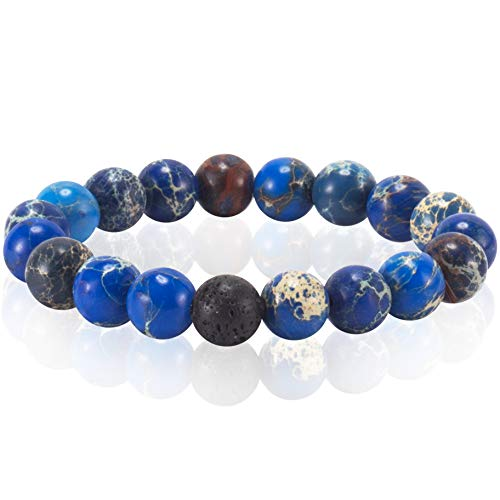 eletout Handmade 10mm Round Natural Semi Precious Gemstone Beaded Stretch Ornament Bracelets ()