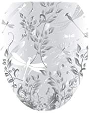 Toilet Tattoos, Toilet Seat Cover Decal,Fields of Grey Dragonflies Design, Size Round