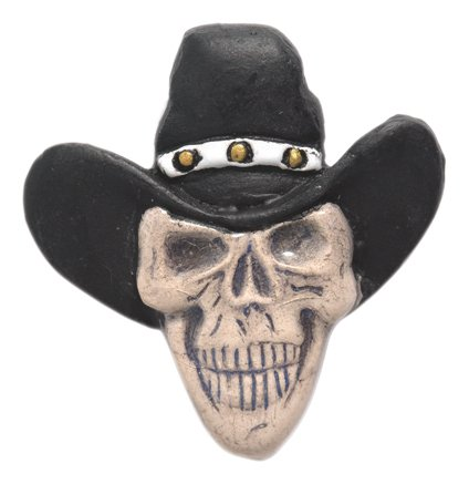 Shipwreck Beads 33 by 35mm Peruvian Hand Crafted Ceramic Skull Beads with Cowboy Hat, Black, 3 per -