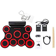 Yoome 9-Pad Foldable Electronic Drum Set, Electric Roll up Drum Pads MIDI Drum Kit with Headphone Jack, Built-in Battery&Speaker, Drum Sticks, Foot Pedals for Kids Practice Drum Starters - Red