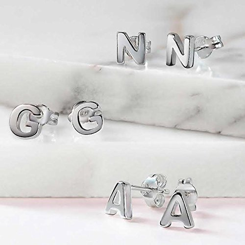 Modern-Alphabet-Letter-Initial-Sterling-Silver-Stud-Earrings